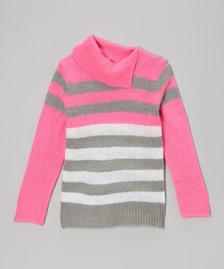 Pink & White Stripe Split-Neck Sweater - Toddler & Girls
