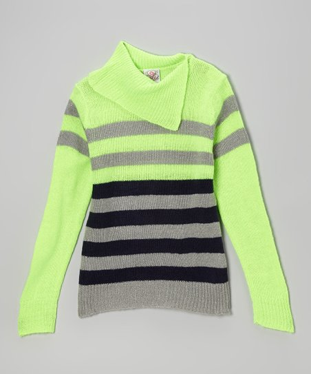 Neon Green & Black Stripe Split-Neck Sweater - Toddler & Girls