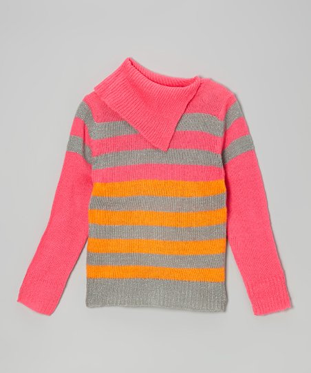 Fuchsia & Orange Stripe Split-Neck Sweater - Toddler & Girls