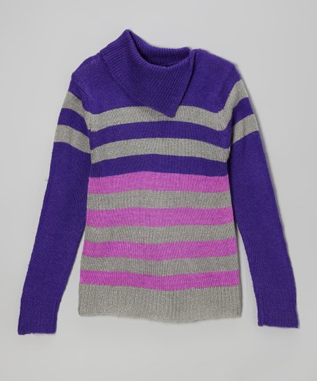 Blue & Purple Stripe Split-Neck Sweater - Toddler & Girls