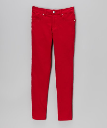 Red Denim Five-Pocket Skinny Jeans - Girls