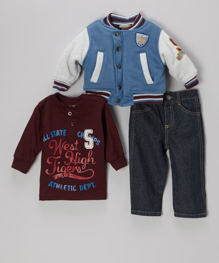 Blue 'All State' Varsity Jacket Set - Infant