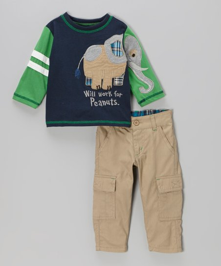 Navy 'Peanuts' Tee & Cargo Pants - Boys