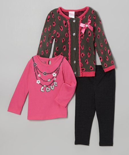 Pink 'Love' Cardigan Set - Infant, Toddler & Girls