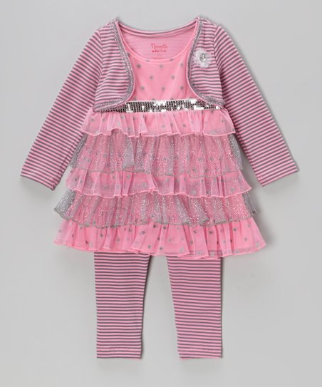 Pink & Silver Tiered Tunic & Leggings - Girls