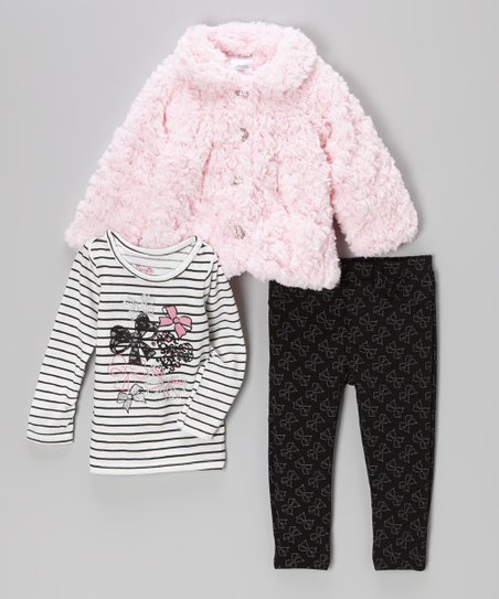 Pink Faux Fur Jacket Set - Infant
