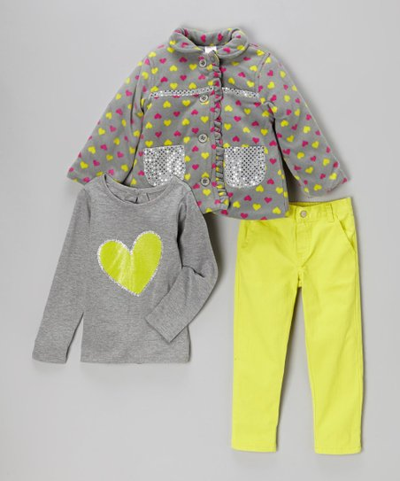 Gray & Neon Yellow Heart Jacket Set - Infant