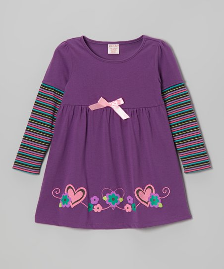 Purple Stripe Long-Sleeve Dress - Toddler & Girls