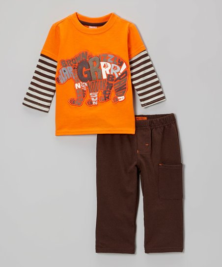 Dark Orange 'Grr' Bear Layered Tee & Brown Pants - Infant