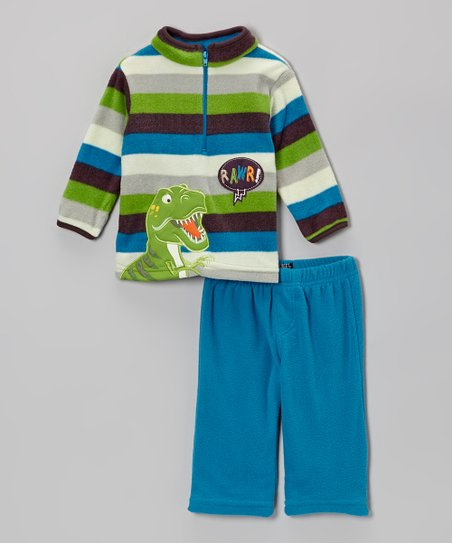 Navy Stripe T-Rex Pullover & Blue Pants - Infant