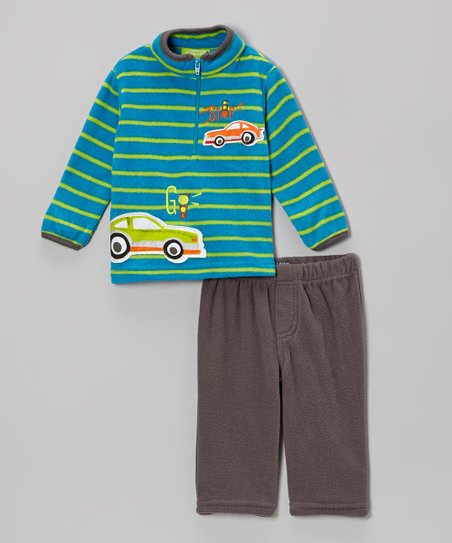 Blue Stripe 'Stop Go' Cars Pullover & Pants - Infant