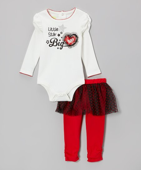 White Star & Heart Bodysuit & Red Skirted Leggings - Infant