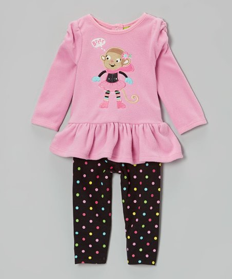 Pink Monkey Tunic & Polka Dot Leggings - Infant & Toddler