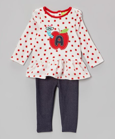 Beige Dot 'A' Apple Tunic & Navy Leggings - Infant & Toddler