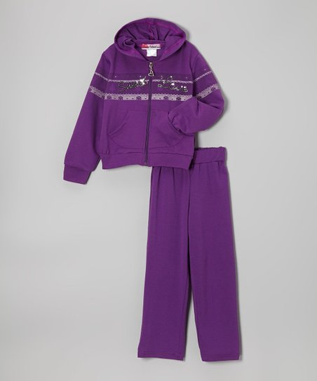Purple 'Sweet Love' Zip-Up Hoodie & Pants - Toddler & Girls