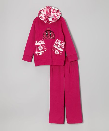 Magenta Mittens Hoodie & Pants - Toddler & Girls