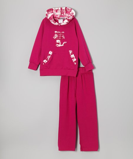 Magenta Fox Hoodie & Pants - Toddler & Girls