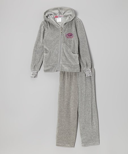 Gray Crown Zip-Up Hoodie & Pants - Toddler & Girls