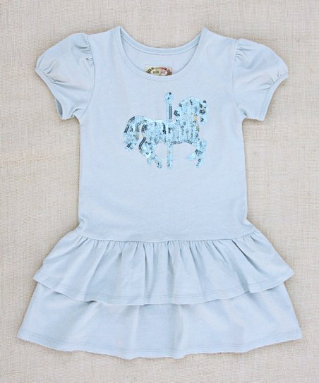 Pale Seaglass Blue Carousel Dress - Infant, Toddler & Girls