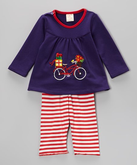 Purple & Red Bike Top & Stripe Pants - Infant & Toddler