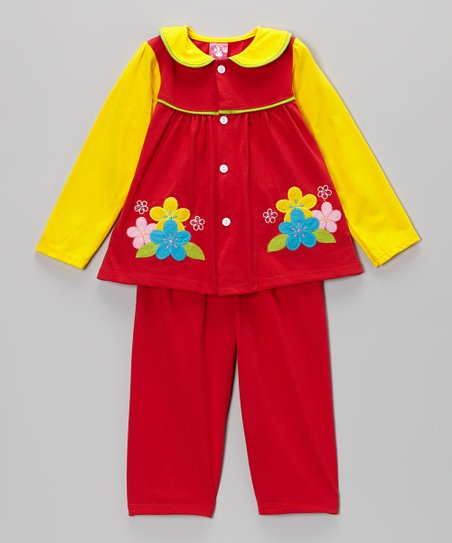 Red & Yellow Flower Top & Pants - Infant
