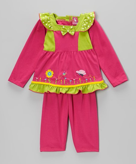 Hot Pink & Green Bow Ruffle Top & Pants - Infant
