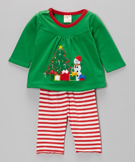 Green & Red Christmas Tree Top & Stripe Pants - Infant & Toddler