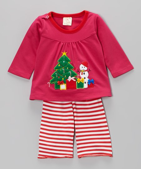 Pink Christmas Tree Top & Stripe Pants - Infant & Toddler