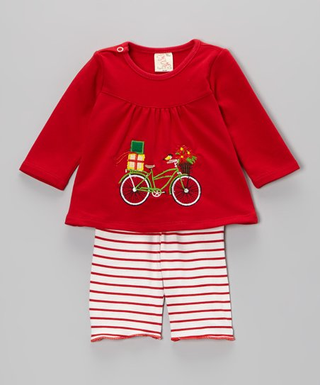 Red Bike Top & Stripe Pants - Infant & Toddler