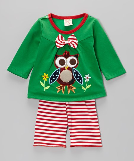 Green Owl Top & Stripe Pants - Infant & Toddler