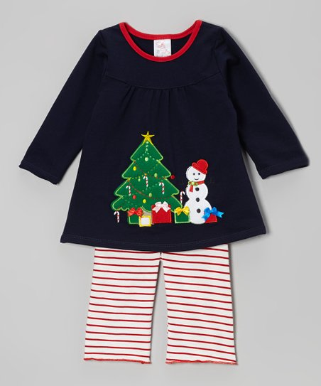 Navy Snowman Top & Stripe Pants - Infant & Toddler