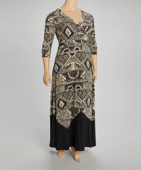 Black & Taupe Village Maxi Wrap Dress