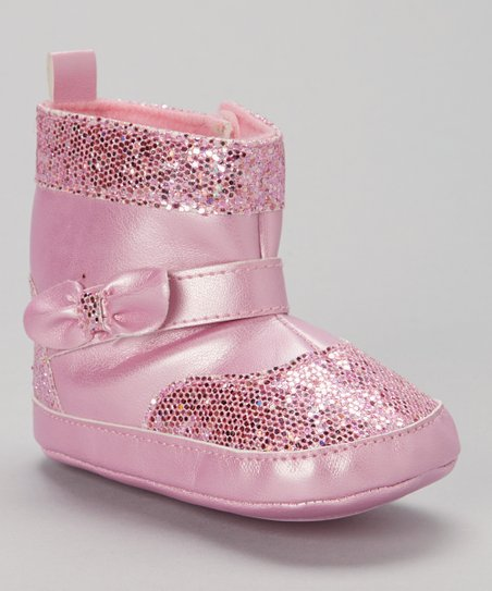 Pink Bow Sequin Boot