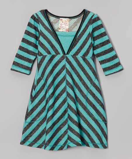 Jade & Charcoal Stripe Dress - Toddler