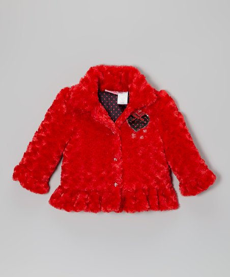 Red Heart Faux Fur Ruffle Coat - Girls
