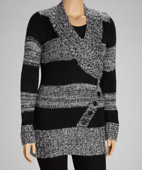 Black & Gray Stripe Shawl Collar Sweater Tunic - Plus