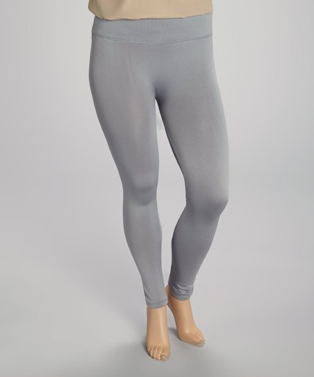 Gray Fleece-Lined Leggings - Plus