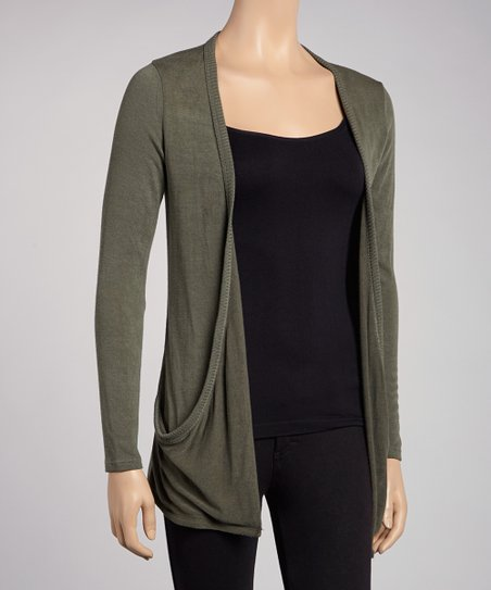 Olive Embellished Pocket Cardigan