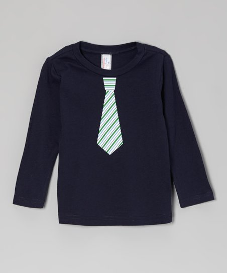 Navy & Green Stripe Tie Long-Sleeve Tee - Infant, Toddler & Boys