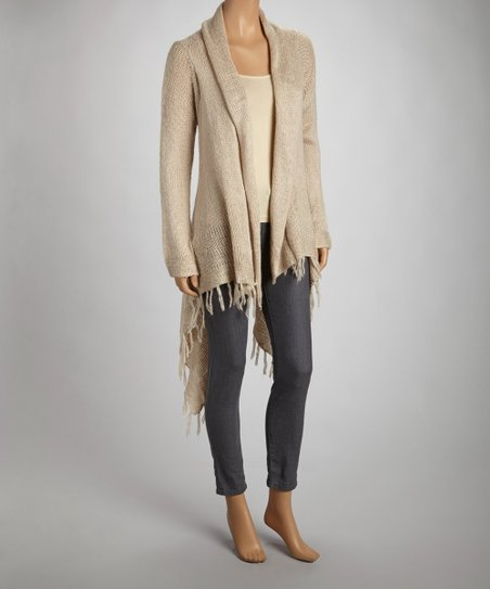 Beige Hi-Low Open Cardigan