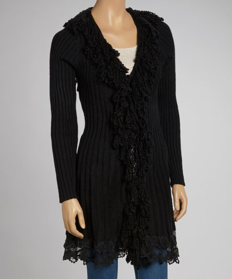 Black Fringe Wool-Blend Duster