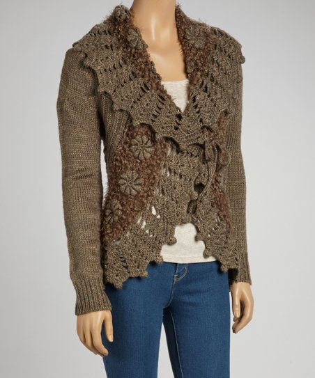 Taupe Wool-Blend Crocheted Open Cardigan