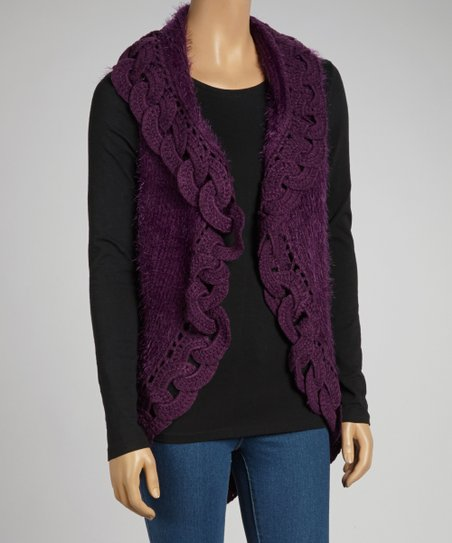 Purple Wool-Blend Vest