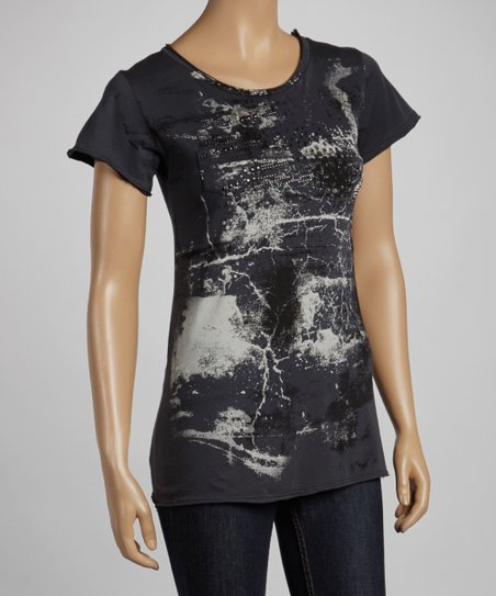 Charcoal Raw Edge Short-Sleeve Top
