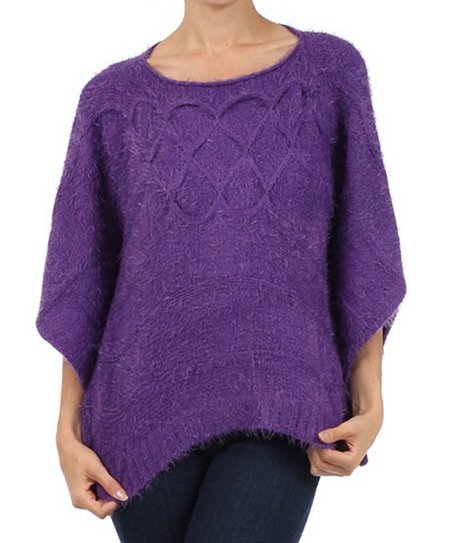 Purple Knit Cape-Sleeve Sweater