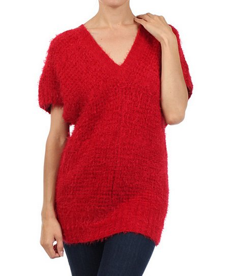 Red V-Neck Tunic