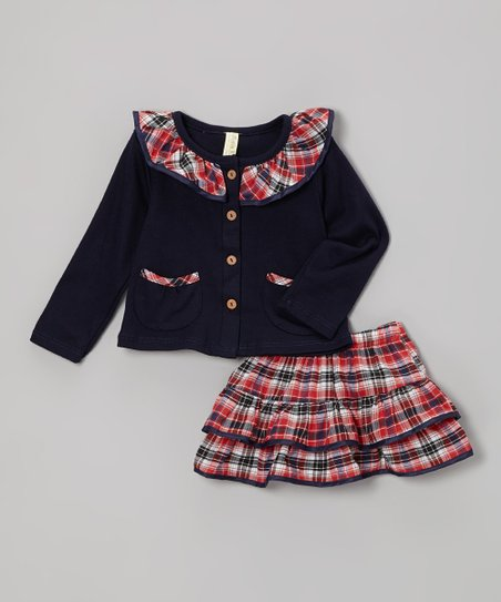 Navy & Pink Plaid Cardigan & Skirt - Infant