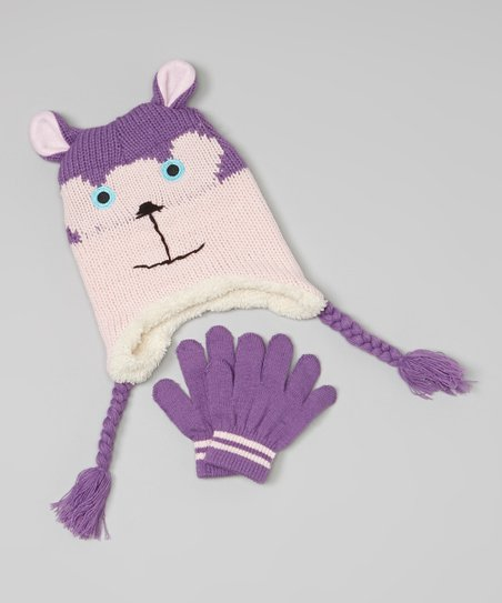 Purple Bear Earflap Beanie & Gloves