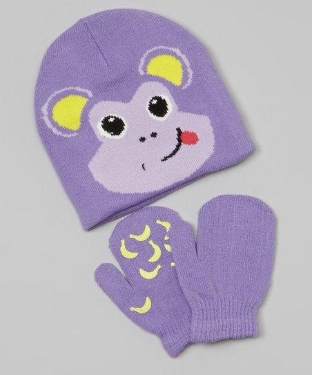 Purple & Yellow Monkey Beanie & Mittens