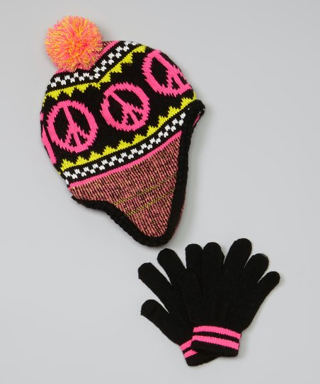Black Peace Sign Earflap Beanie & Gloves